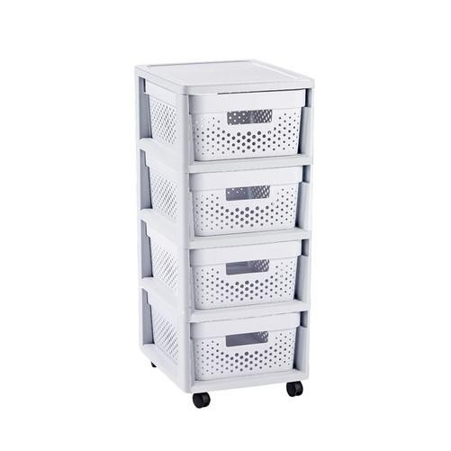 Keter Rattan Style 3 Drawer Cart.Infinity Drawer Dots 4 X 11l White Furniture Home Decor Fortytwo