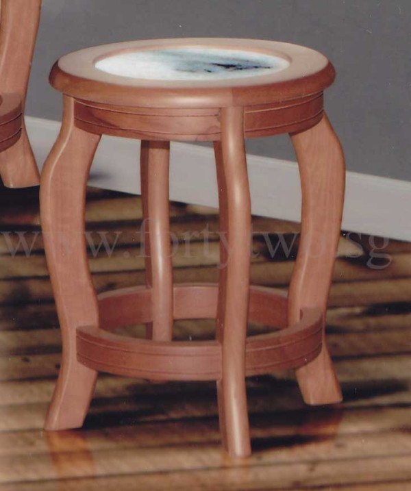 Solid wood stool with marble seat top 888 furniture for Furniture 888