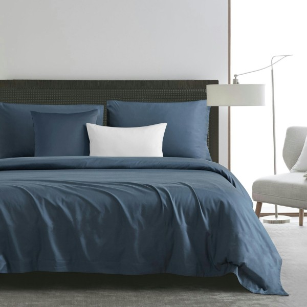 Fynelinen Egyptian Cotton 950tc Hotel, White And Navy Hotel Bedding