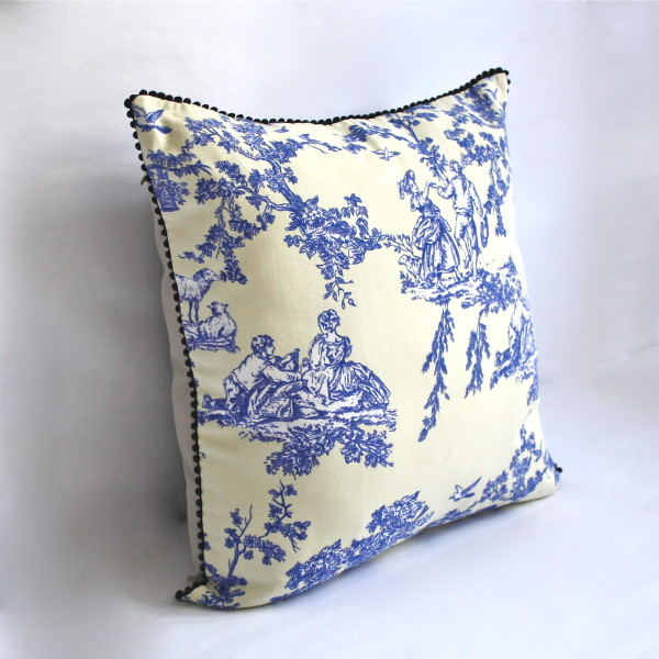 French Toile Blue Pillow 1