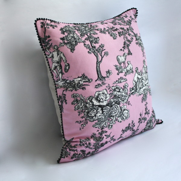 French Toile Mauve Pillow 1