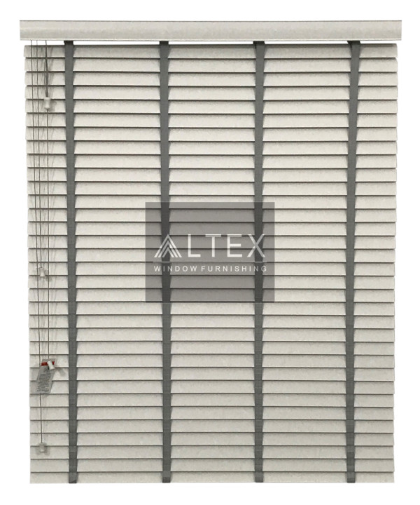 Altex 50mm pvc venetian blinds white slats with grey for Altex decoration