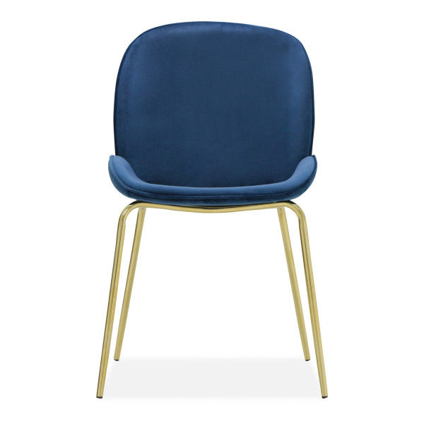 Beetle Chair Replica with Gold Legs (Dark Blue)