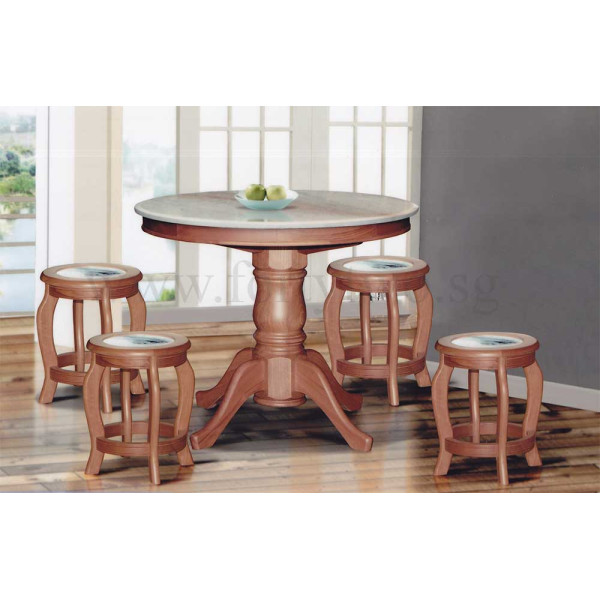 finest selection 85eaf 05e1d DN888 Round Marble Dining Table (3.5Ft) + 6 Stools (Marble Seat Top) Set