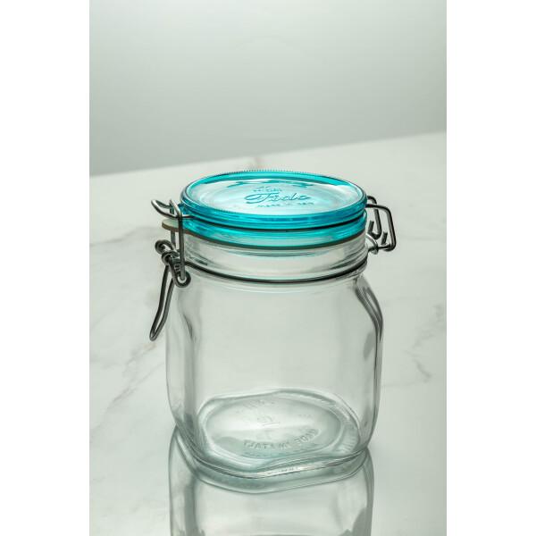 Fido Glass Jar 750ml (Clear/Turquoise Lid)