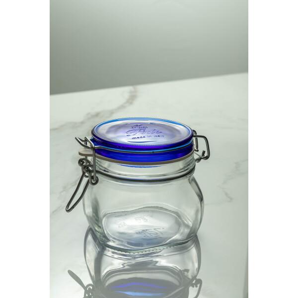 Fido Glass Jar 500ml (Clear/Navy Blue Lid)