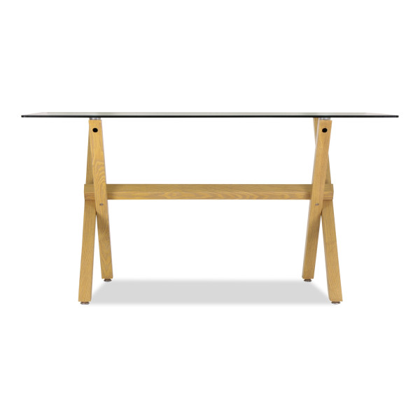 Merletta Glass Dining Table In Beech Wood