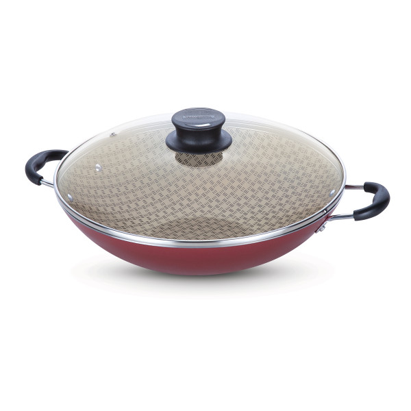 Tramontina Non-stick 32cm Wok with Tempered Glass Lid Paris (Red)