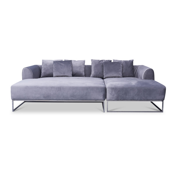 Velma 4-Seater L Shape-LEFT Rest Section when Seated (Grey)