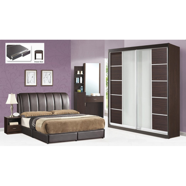 5 Piece Bed Room Set BRS8010 Walnut