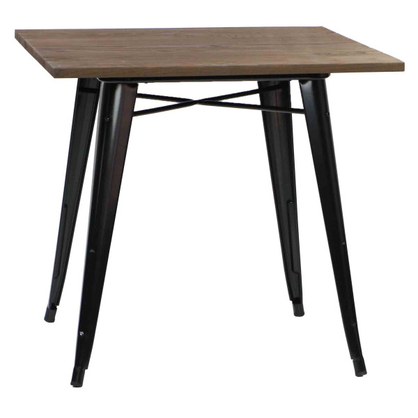 Modus Metal Dining Table with Wood Top Black