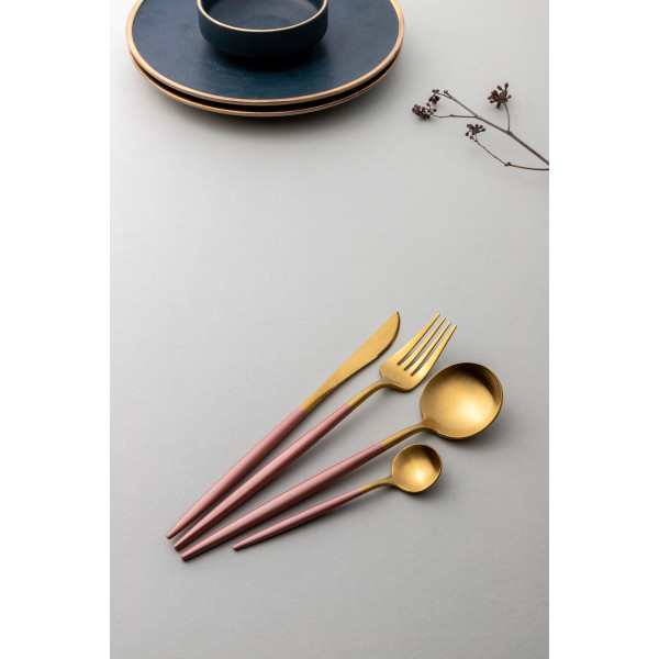 Avery 4-Piece Cutlery Set (Gold/Dark Coral)