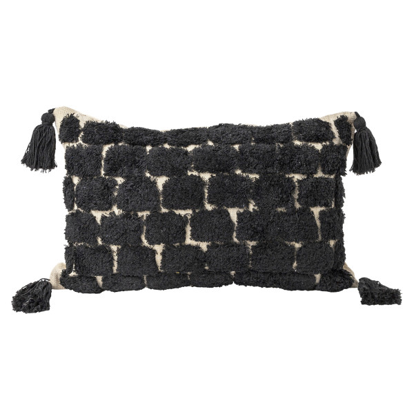 Arley Tufted Cushion With Tassles (Black)