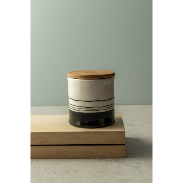 Darcie Medium Hand-Painted Canister With Bamboo Lid (Black/White)