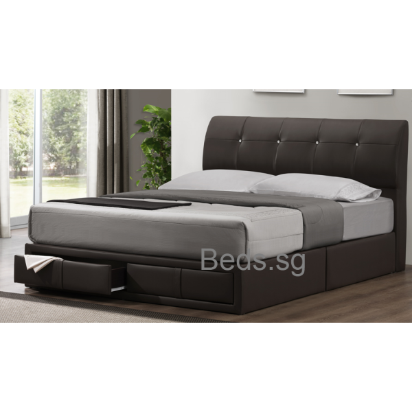 Bertha faux leather drawer bed furniture home d cor fortytwo - Single leather bed with drawers ...