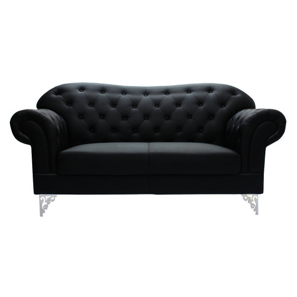 AS-IS Clearance: Gardaenia 2 Seater PU Leather Sofa in Black RR27394