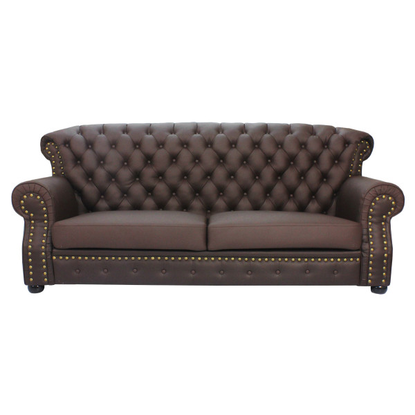 Tydus Strusso Classical 3 Seater Half Leather Sofa (Dark Brown)