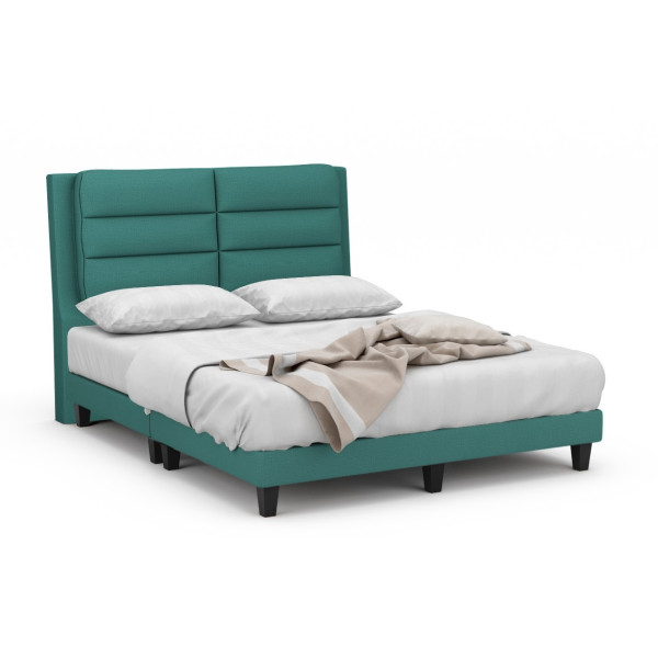 Camellia Fabric Bed Frame With Black Legs