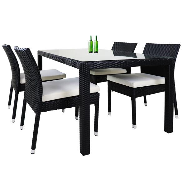 Casa 4 Chair Dining Set White Cushion