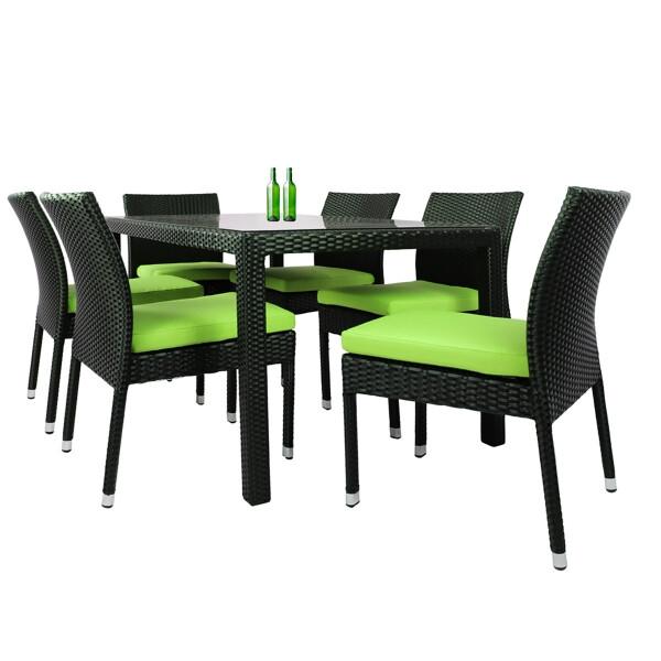 Casa 6 Chair Dining Set Green Cushion