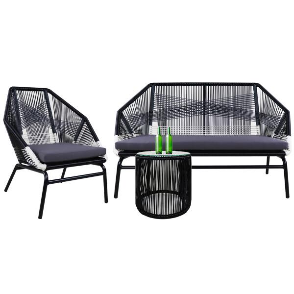 Catania Patio 2 + 1 Seater, Grey Cushions