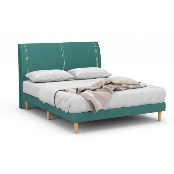 Crestline Fabric Bed Frame With Tall Beech Legs