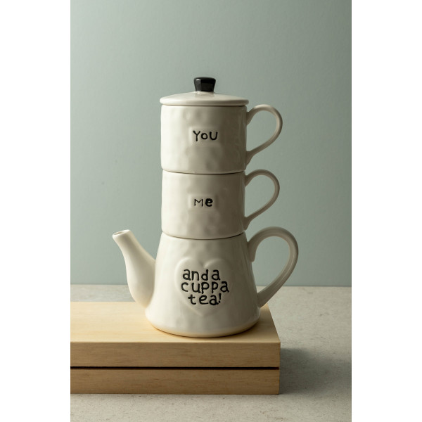 Colby Stackable Teapot and Mugs (White)