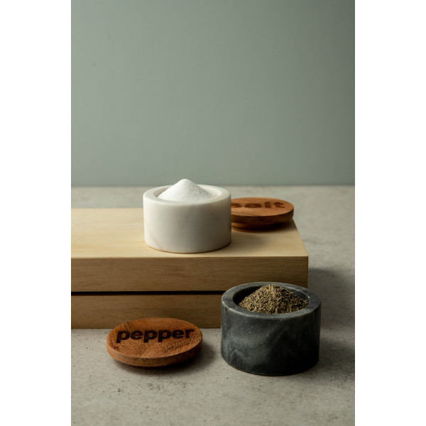 Ivar Salt & Pepper Marble Pots With Acacia Wood Lid (Black/White)