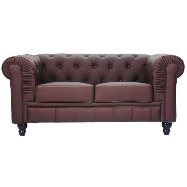 Benjamin Classical 2 Seater PU Leather Sofa (Dark Brown)