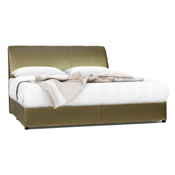 Winston Faux Leather Bed Frame (Pearly Gold)