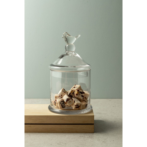 Beth Small Glass Container with Bird Lid