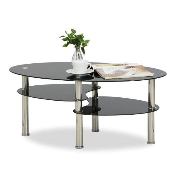 Krystal Eclipse Black Tempered Glass Coffee Table