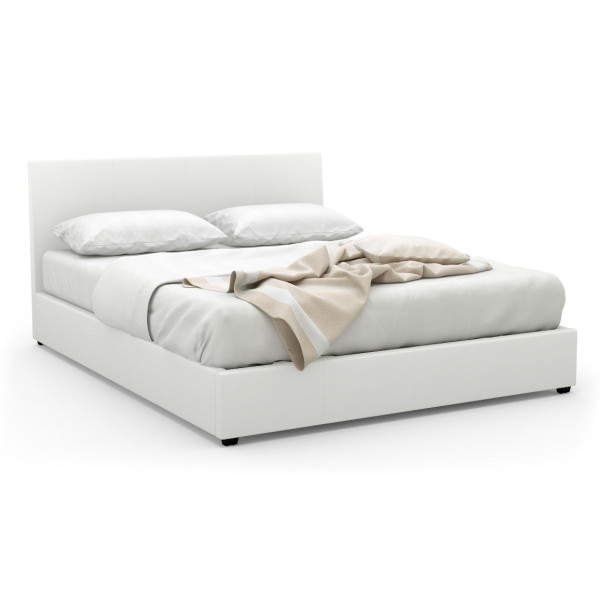 Foster Queen-Sized Storage Bed  (PU White)