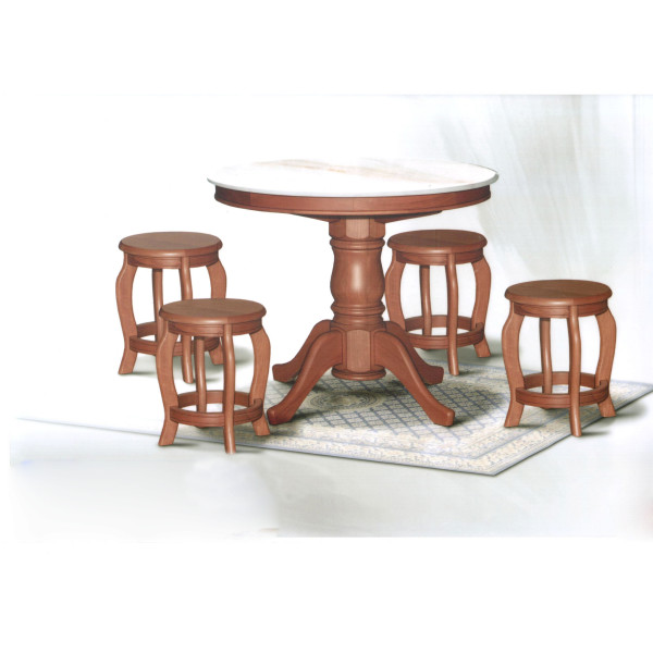 dn788 round marble dining table 3 5ft 6 stools set furniture