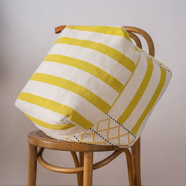 Coby Pouf (Off-White/Yellow)