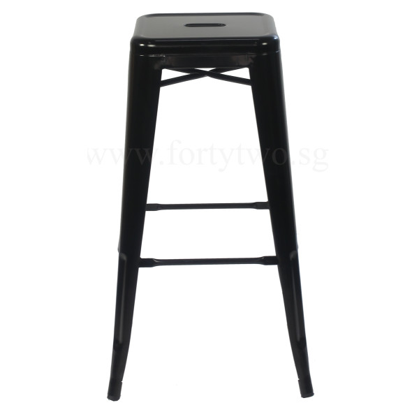 Retro Metal High Stool Black