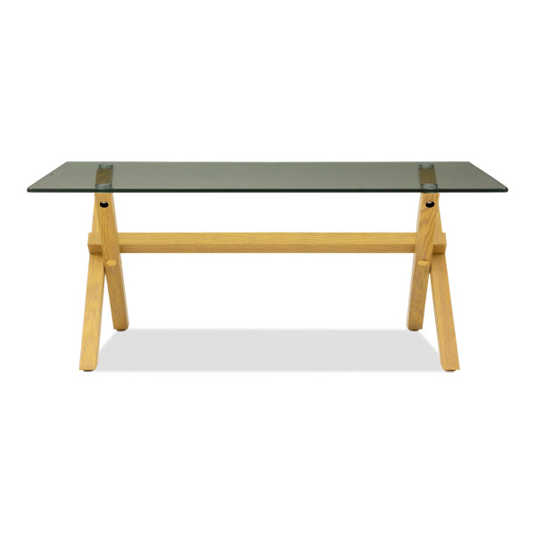 Hendry Glass Coffee Table In Beech Wood
