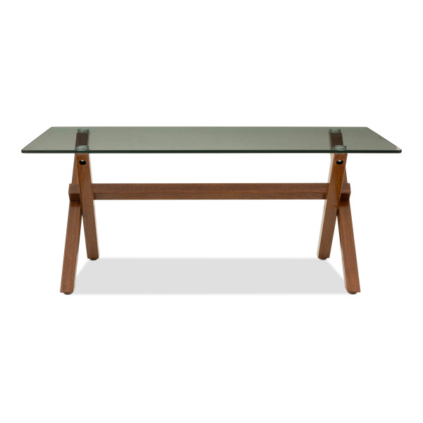 Hendry Glass Coffee Table In Mahogany