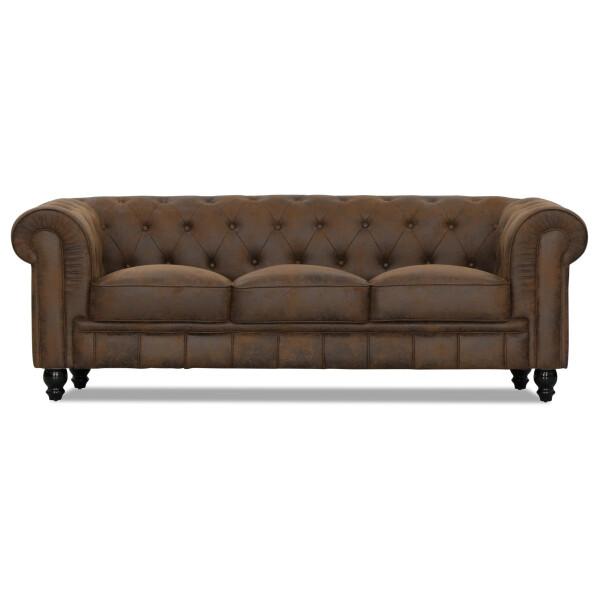 Benjamin Classical 3 Seater PU Leather Sofa (Vintage)