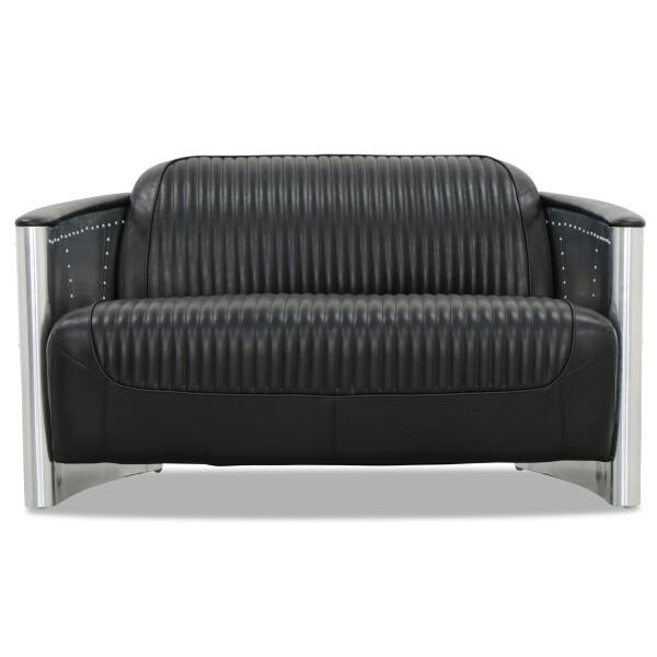 Aviator Replica 2 Seater Sofa Black PU Leather (Aluminium Silver)