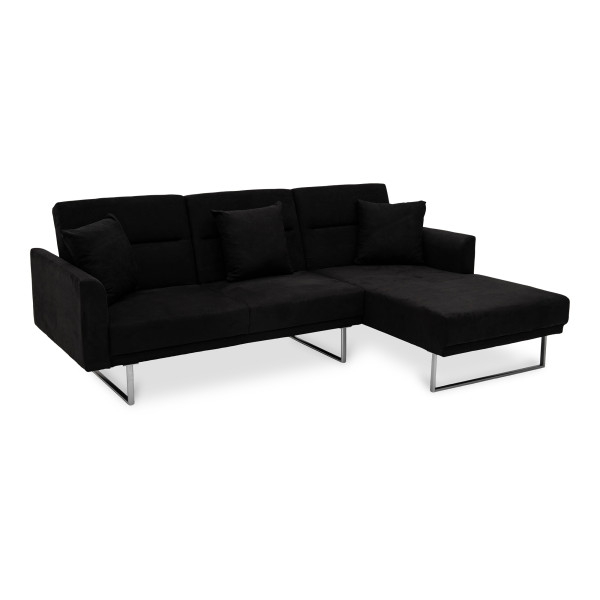 Cody 3 Seater L Shape Sofa Bed-Rest Section on LEFT Side when Seated Charcoal (RHF)