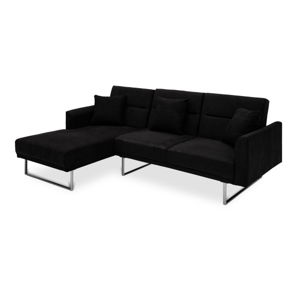 Cody 3 Seater L Shape Sofa Bed-Rest Section on RIGHT Side when Seated Charcoal (LHF)