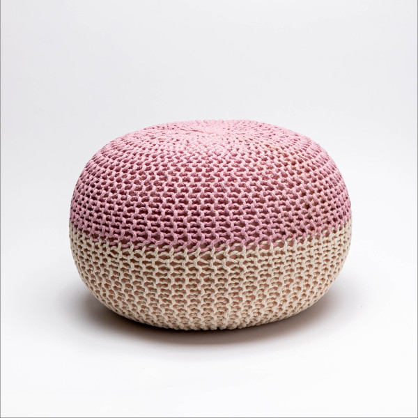 Tumelo Knitted Pouffe (Light Pink/Beige)