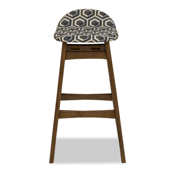 Enzo Bar Stool Walnut with Navy Blue pattern