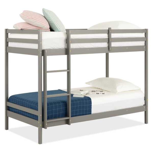 Lucine Pine Bunk Bed (Single, Grey)