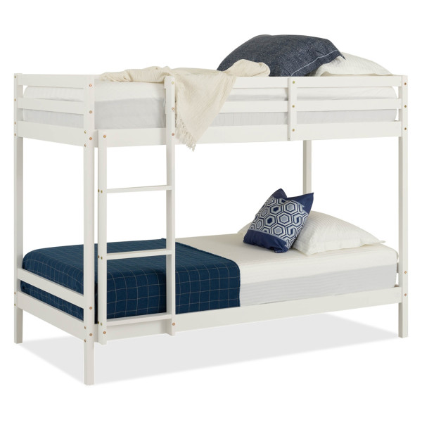 Lucine Pine Bunk Bed (Single, White)