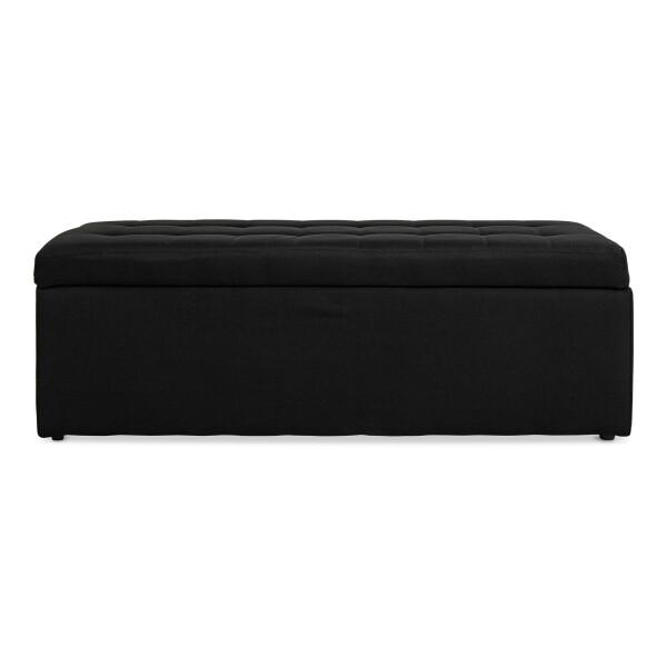 Carissa Storage Bench Fabric Black (Long)