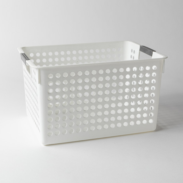 Torie Deep Storage Basket W/ Round Holes L (White)