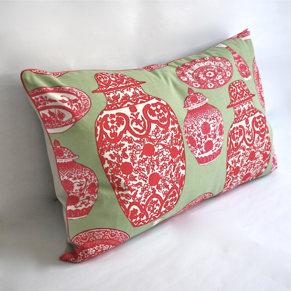 Gaëlle Designer Pillow - 38cm x 66cm Porcelaine in Mint