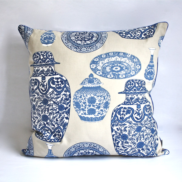 Gaëlle Designer Pillow - 50cm x 50cm Porcelaine in Blue